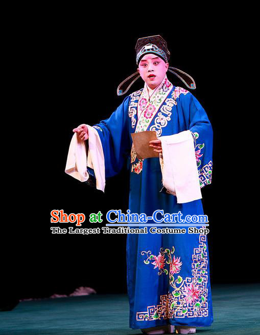 Shi Wen Hui Chinese Peking Opera Gifted Youth Garment Costumes and Headwear Beijing Opera Xiaosheng Apparels Scholar Xie Ying Clothing
