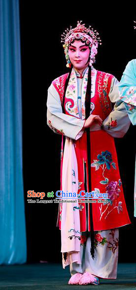 Chinese Beijing Opera Maidservant Apparels Shi Wen Hui Costumes and Headpieces Traditional Peking Opera Xiaodan Dress Garment
