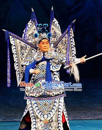 Zhao Tuo Chinese Peking Opera General Kao Suit Garment Costumes and Headwear Beijing Opera Military Officer Apparels Armor Clothing with Flags