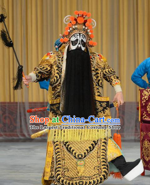 Xiang Yu Chinese Peking Opera Chu King Garment Costumes and Headwear Beijing Opera Laosheng Apparels Monarch Armor Clothing