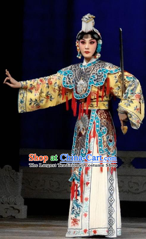 Chinese Beijing Opera Swordswoman Yu Ji Apparels Xiang Yu Costumes and Headpieces Traditional Peking Opera Martial Female Dress Garment