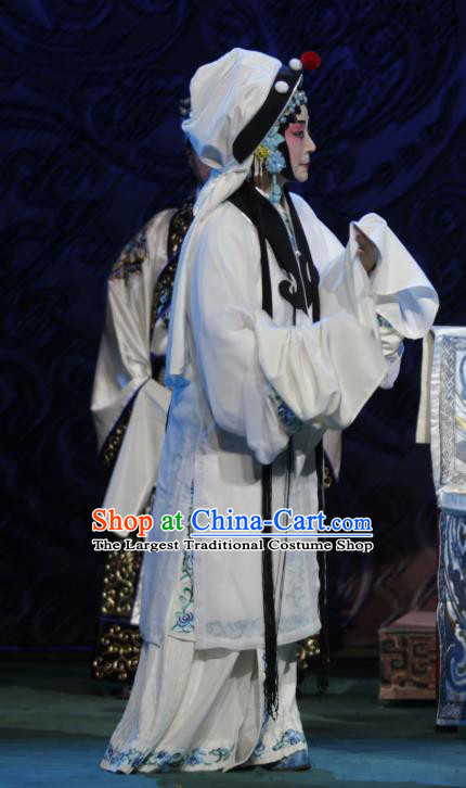 Chinese Beijing Opera Distress Woman Apparels Zhao Tuo Costumes and Headpieces Traditional Peking Opera Actress White Dress Garment
