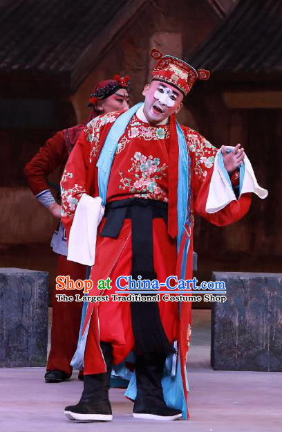 Seven Heros Five Gallants Chinese Peking Opera Chou Role Red Garment Costumes and Headwear Beijing Opera Clown Apparels Clothing