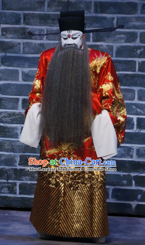 Seven Heros Five Gallants Chinese Peking Opera Official Garment Costumes and Headwear Beijing Opera Minister Apparels Elderly Male Clothing