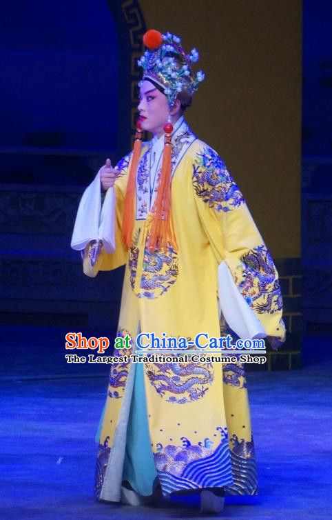 Seven Heros Five Gallants Chinese Peking Opera Emperor Garment Costumes and Headwear Beijing Opera Xiaosheng Apparels Young Male Clothing