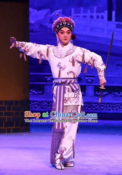 Seven Heros Five Gallants Chinese Peking Opera Young Male Garment Costumes and Headwear Beijing Opera Knight Apparels Swordsman Bai Yutang Clothing