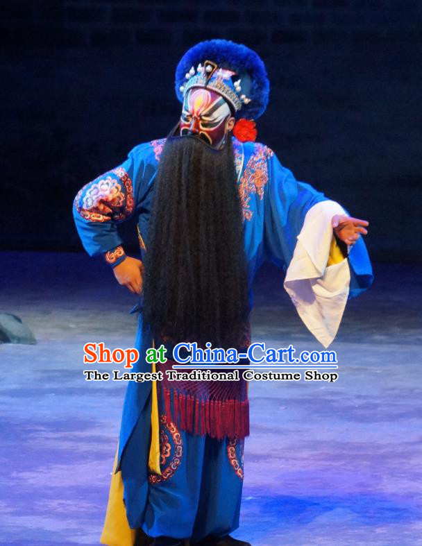 Seven Heros Five Gallants Chinese Peking Opera Martial Male Garment Costumes and Headwear Beijing Opera Swordsman Apparels Takefu Blue Clothing
