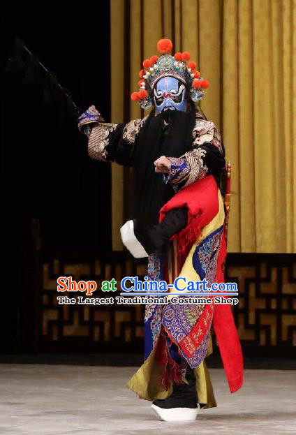 Xing Han Tu Chinese Peking Opera Martial Male Garment Costumes and Headwear Beijing Opera Bodyguard Apparels Wusheng Clothing