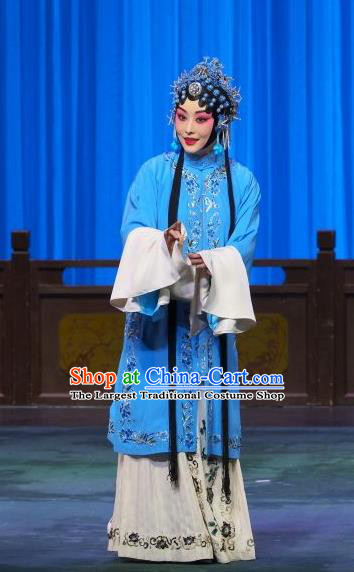 Chinese Beijing Opera Tsing Yi Liu Lanzhi Apparels Costumes and Headpieces Traditional Peking Opera Young Female Blue Dress Distress Maiden Garment
