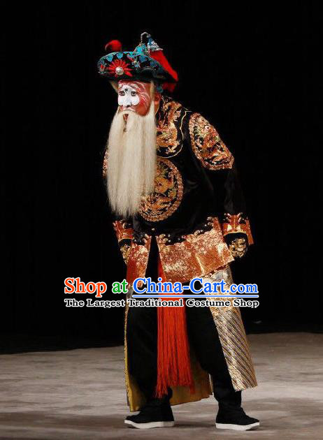 Xing Han Tu Chinese Peking Opera Old Soldier Garment Costumes and Headwear Beijing Opera Laosheng Apparels Bodyguard Clothing