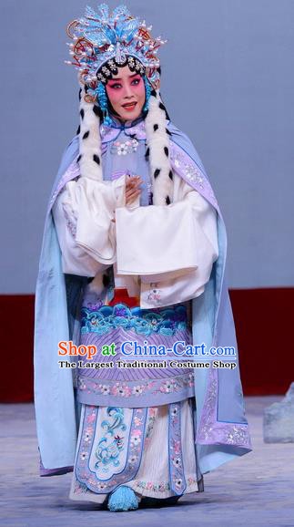 Chinese Beijing Opera Hua Tan Apparels Return to the Han Dynasty Costumes and Headpieces Traditional Peking Opera Diva Dress Imperial Concubine Cai Wenji Garment
