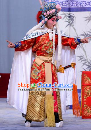 Return to the Han Dynasty Chinese Peking Opera Young Male Garment Costumes and Headwear Beijing Opera Martial Man Apparels Soldier Clothing