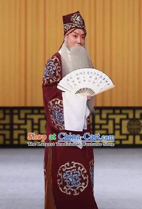 Wen Zhao Guan Chinese Peking Opera Laosheng Garment Costumes and Headwear Beijing Opera Old Man Wu Zixu Apparels Clothing