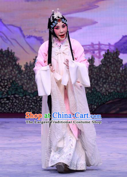 Chinese Beijing Opera Distress Female Apparels Liu Lanzhi Costumes and Headpieces Traditional Peking Opera Young Woman Dress Diva Garment