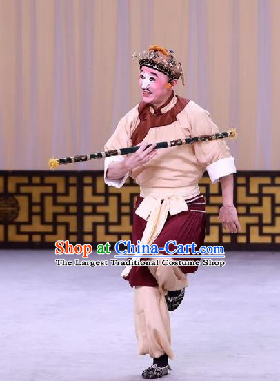 Hai Zhou Guo Guan Chinese Peking Opera Chou Role Garment Costumes and Headwear Beijing Opera Figurant Apparels Clothing
