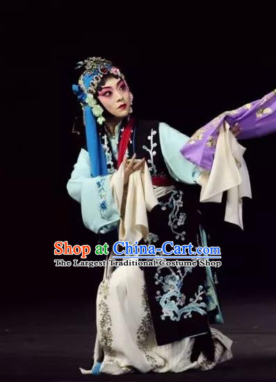 Chinese Beijing Opera Servant Girl Apparels Return to the Han Dynasty Costumes and Headpieces Traditional Peking Opera Xiaodan Dress Garment