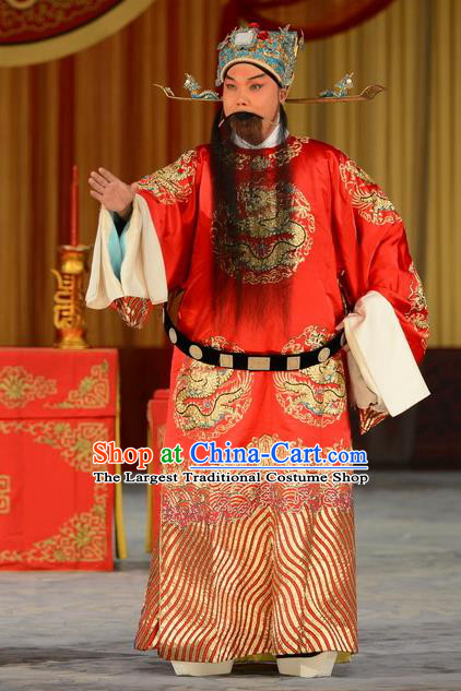 Refuse to Attend A Feast Chinese Peking Opera Official Kou Zhun Garment Costumes and Headwear Beijing Opera Laosheng Apparels Elderly Male Clothing