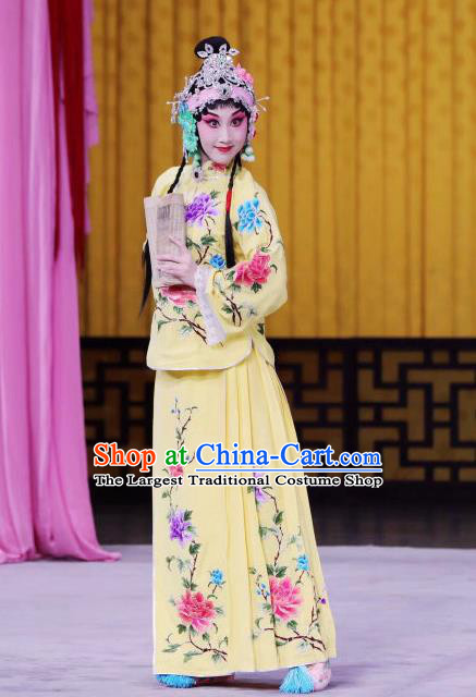 Chinese Beijing Opera Young Lady Apparels Xun Guanniang Costumes and Headpieces Traditional Peking Opera Hua Tan Yellow Dress Actress Garment