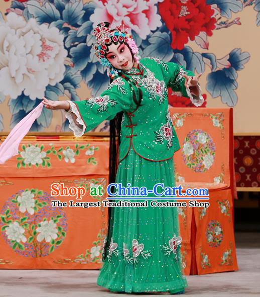 Chinese Beijing Opera Young Female Apparels Xun Guanniang Costumes and Headpieces Traditional Peking Opera Hua Tan Green Dress Actress Garment