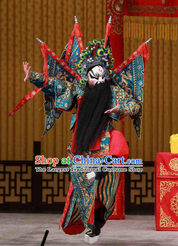 Yang Ping Guan Chinese Peking Opera General Green Armor Garment Costumes and Headwear Beijing Opera Old Man Apparels Kao Suit with Flags Clothing
