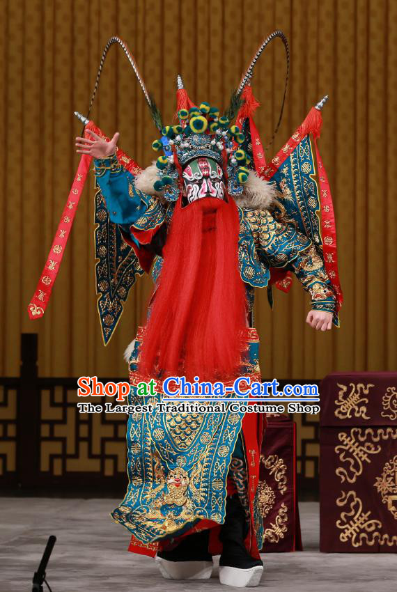 Yang Ping Guan Chinese Peking Opera General Blue Armor Garment Costumes and Headwear Beijing Opera Old Man Apparels Martial Male Kao Suit Clothing with Flags