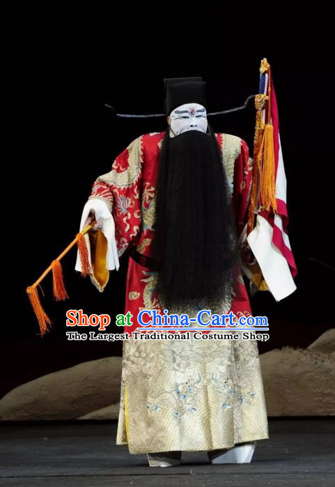 Return to the Han Dynasty Chinese Peking Opera Official Garment Costumes and Headwear Beijing Opera Jing Role Apparels Chancellor Cao Cao Clothing