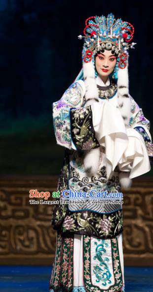 Chinese Beijing Opera Hua Tan Cai Wenji Apparels Return to the Han Dynasty Costumes and Headpieces Traditional Peking Opera Imperial Concubine Dress Actress Garment