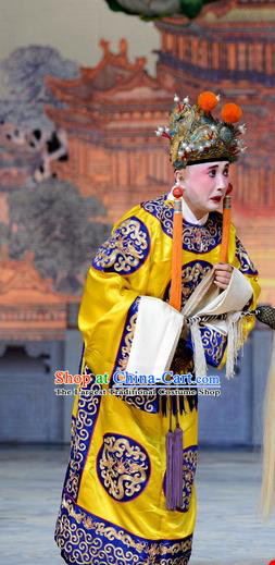 Empress With Great Feet Chinese Peking Opera Court Eunuch Garment Costumes and Headwear Beijing Opera Palace Servant Apparels Clothing