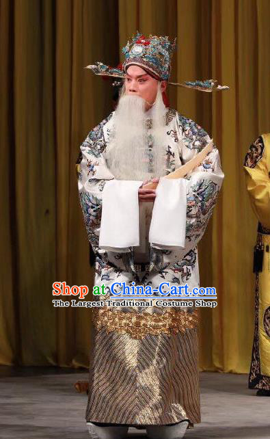 Xing Han Tu Chinese Peking Opera Old Man Garment Costumes and Headwear Beijing Opera Elderly Male Apparels Official Clothing