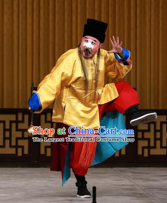 Dingjun Mount Chinese Peking Opera Chou Xia Houshang Garment Costumes and Headwear Beijing Opera Clown Apparels Clothing