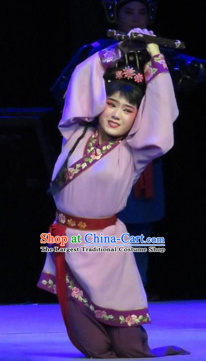 Chinese Ping Opera Maidservant Cai Feng Apparels Costumes and Headpieces Traditional Pingju Opera Saving Orphan Young Lady Purple Dress Garment