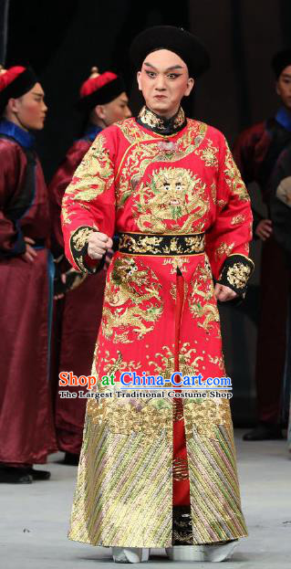 Inspector And Prince Chinese Peking Opera Royal Highness Garment Costumes and Headwear Beijing Opera Apparels Infante Red Clothing