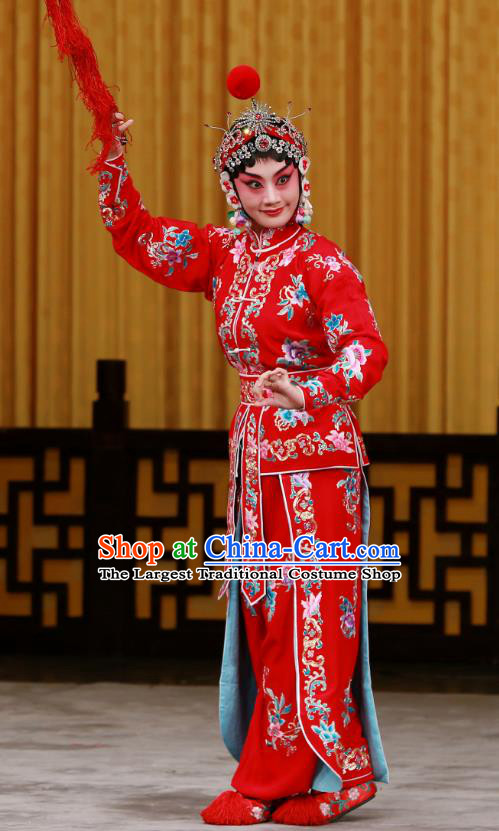 Chinese Beijing Opera Swordsplay Female Tao Sanchun Apparels Da Gua Yuan Costumes and Headpieces Traditional Peking Opera Actress Red Dress Garment
