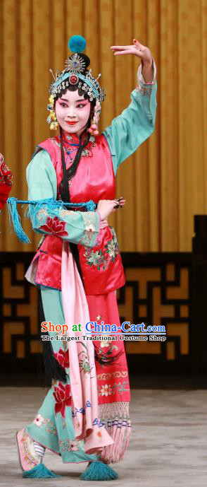Chinese Beijing Opera Maidservant Girl Apparels Da Gua Yuan Costumes and Headpieces Traditional Peking Opera Young Lady Dress Xiaodan Garment