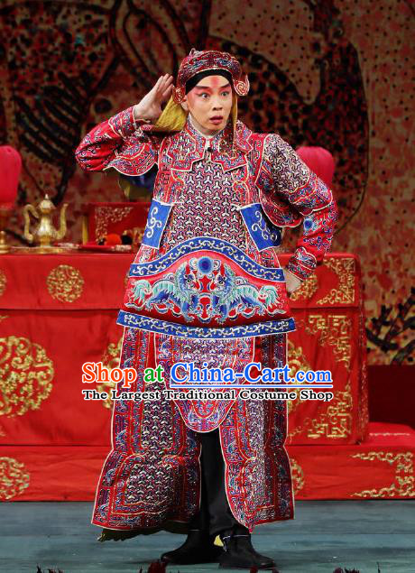 Zhai Ying Hui Chinese Peking Opera Takefu Armor Garment Costumes and Headwear Beijing Opera Wusheng Apparels Martial Male Tang Jiao Clothing