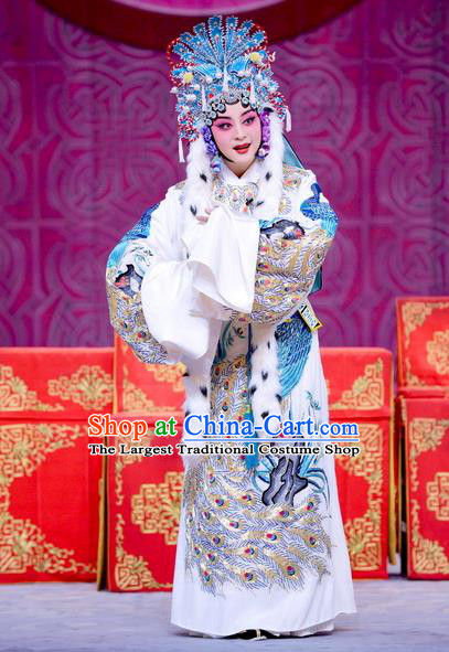 Chinese Beijing Opera Imperial Concubine Cai Wenji Apparels Return to the Han Dynasty Costumes and Headpieces Traditional Peking Opera Hua Tan Dress Actress Garment