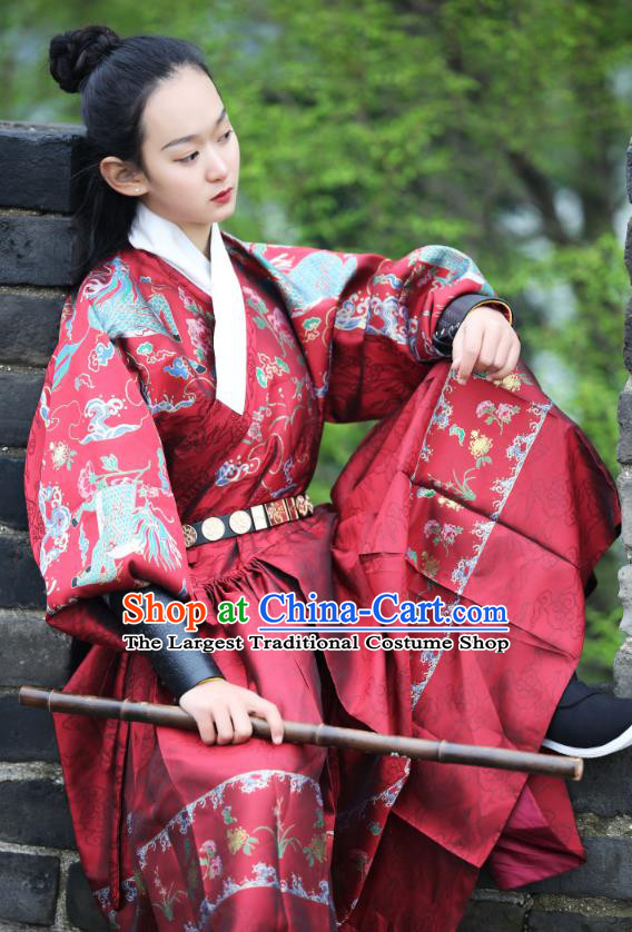 Chinese Traditional Ming Dynasty Female Swordsman Historical Costumes Ancient Blades Hanfu Imperial Guard Kylin Clothing for Women