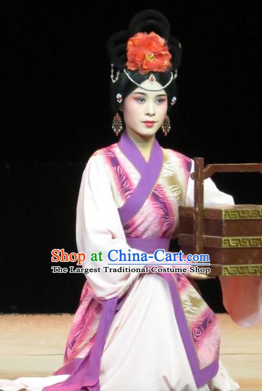 Chinese Ping Opera Palace Lady Apparels Costumes and Headpieces Traditional Pingju Opera Saving Orphan Xiaodan Cai Feng Dress Garment