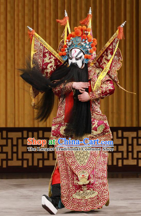 Bei Fa Zhong Yuan Chinese Peking Opera Wusheng Red Kao Garment Costumes and Headwear Beijing Opera General Apparels Armor Clothing with Flags