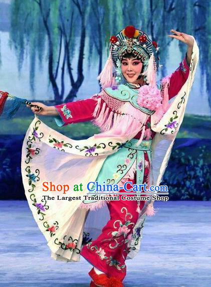 Chinese Beijing Opera Diva Apparels Xiao Fang Niu Costumes and Headpieces Traditional Peking Opera Country Woman Dress Village Girl Garment