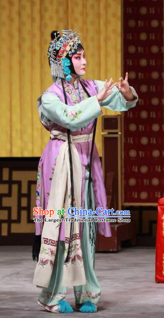 Chinese Beijing Opera Servant Girl Apparels San Ji Zhang Costumes and Headpieces Traditional Peking Opera Xiaodan Dress Garment