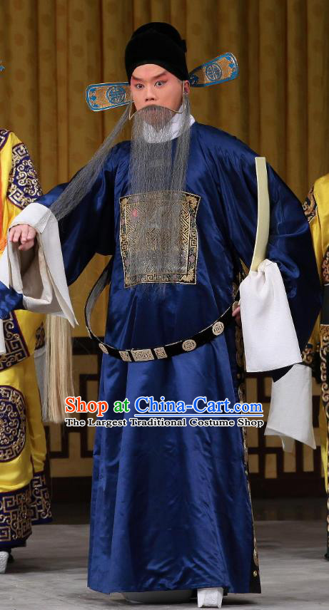 Bei Fa Zhong Yuan Chinese Peking Opera Laosheng Garment Costumes and Headwear Beijing Opera Elderly Male Apparels Official Gu Liang Clothing