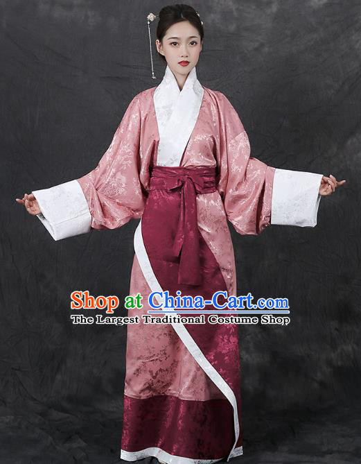 Chinese Traditional Han Dynasty Palace Lady Hanfu Dress Ancient Curving Front Garment Court Woman Historical Costumes