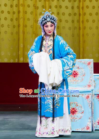 Chinese Beijing Opera Young Female Apparels Chun Gui Meng Costumes and Headpieces Traditional Peking Opera Actress Blue Dress Hua Tan Garment