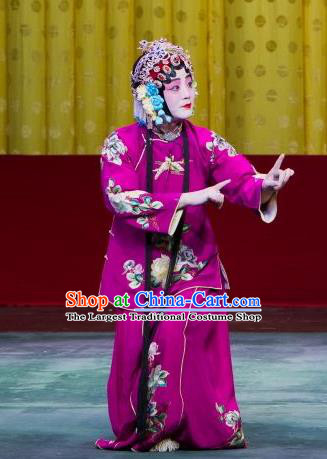 Chinese Beijing Opera Female Apparels Chun Gui Meng Costumes and Headpieces Traditional Peking Opera Young Woman Purple Dress Garment