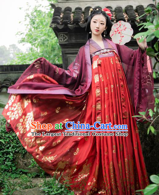 Chinese Traditional Ancient Noble Consort Hanfu Dress Tang Dynasty Palace Lady Historical Costumes Complete Set for Women