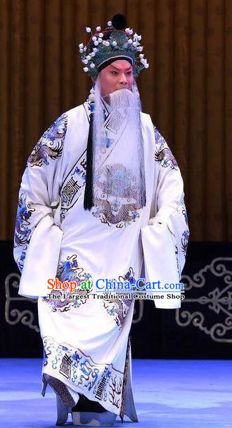 Bai Di Cheng Chinese Peking Opera Laosheng Garment Costumes and Headwear Beijing Opera Lord Robe Apparels Emperor Liu Bei Clothing