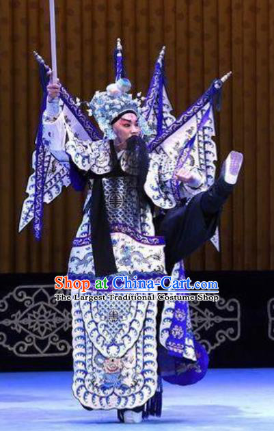 Bai Di Cheng Chinese Peking Opera General Garment Costumes and Headwear Beijing Opera Military Officer Kao Apparels Armor Clothing with Flags