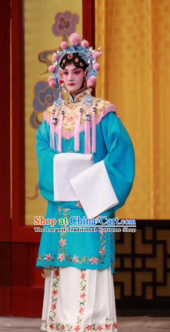 Chinese Beijing Opera Xiaodan Apparels Wei Yang Palace Costumes and Headpieces Traditional Peking Opera Court Maid Blue Dress Garment