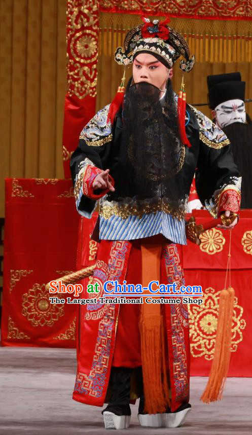 White Gate Tower Chinese Peking Opera Liu Bei Garment Costumes and Headwear Beijing Opera Lord Apparels Monarch Clothing